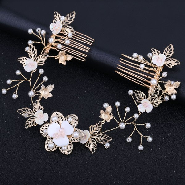 Elegant pearl bridal head piece metal gold leaf floral double wedding hair comb for bride bridesmaid accessories jewelry