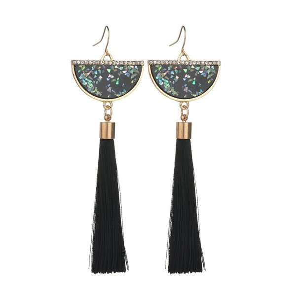 2019 New Temperament Multicolored Shell Pattern Fan Resin And Cotton Tassel Earrings For Women E1776