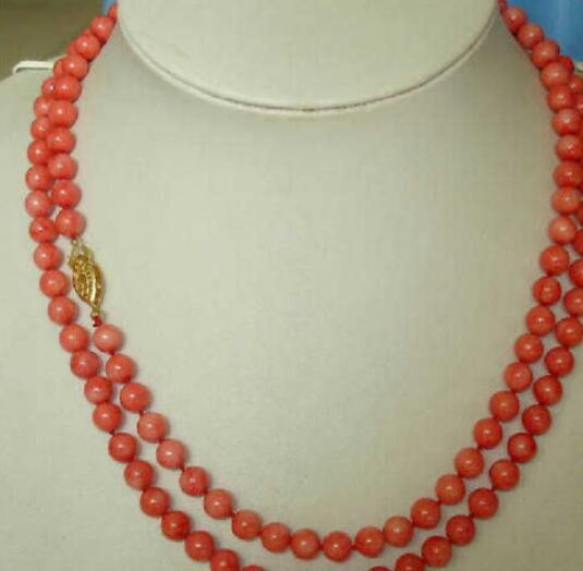 925silver PERFECT 36INCH NEW DESIGN LONG NATURAL 6MM RED CORAL NECKLACE