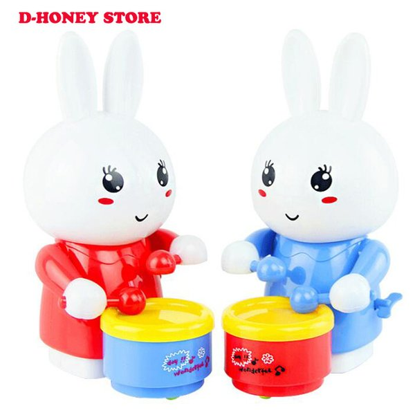 Cartton Rabbit Drumming Clockwork Wind-Up Toys for Children Funny Game Educational Baby Birthday music light Gifts 2019 Newest
