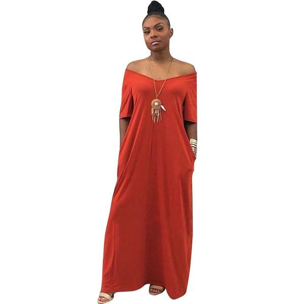 2019 DHL женщин больших размеров платья макси Повседневная летняя с коротким рукавом простые футболки Свободное плавное длинное платье с карманами