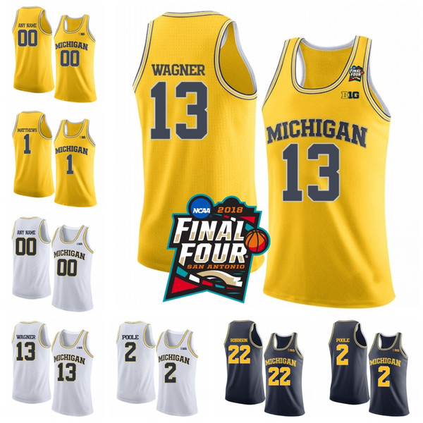 Personalizados NCAA Michigan Wolverines 13 Moritz Wagner 1 Charles Matthews 22 Duncan Robinson Costurado 2018 Final Quatro Basquete Jerseys