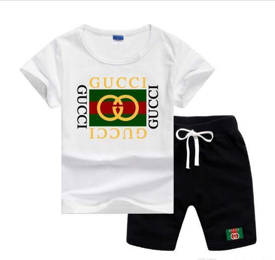 GC Marka Logosu Lüks Tasarımcı Çocuk Giyim Setleri Yaz Bebek Giysileri Baskı Erkek Kıyafetleri için Toddler Moda T-shirt Şort Çoc ...