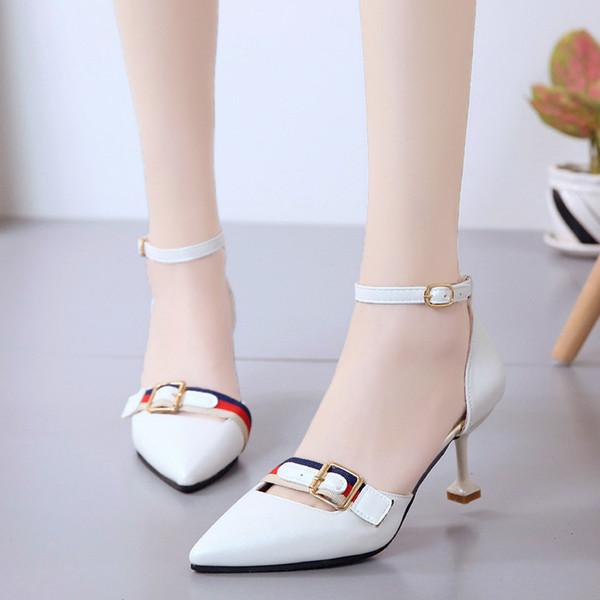3883b2ddd9 Sapatos de Vestido de Fivela de Salto Alto das Mulheres Fino Com Versão  Coreana Do Cinto