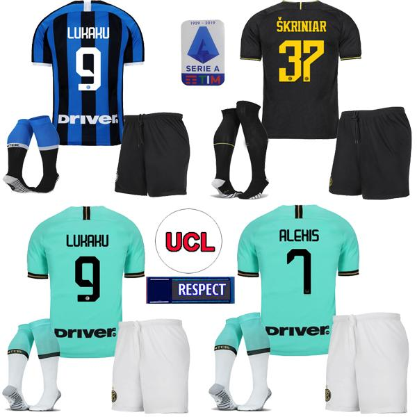 top popular Inter Lukaku LAUTARO SKRINIAR Inter 2019 20 Milan soccer jersey GODIN BARELLA PERISIC Lukaku jerseys football top adult kit kids kit SET 2020