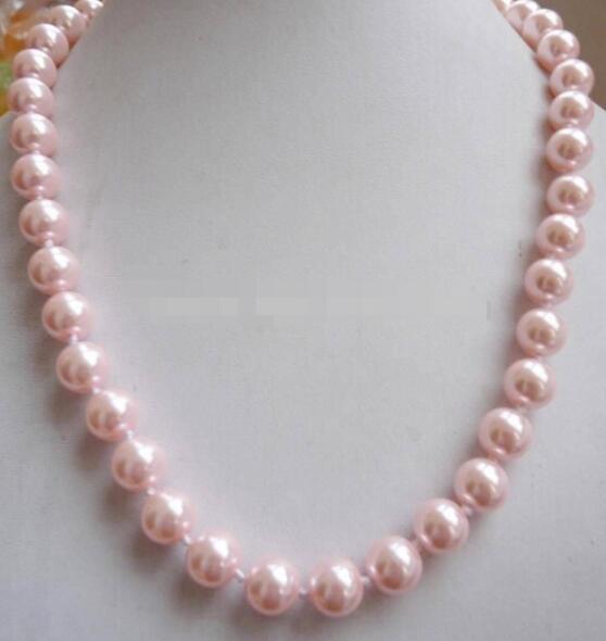 FRETE GRÁTIS ++ 12mm South Sea Pink Shell pérola colar de 18