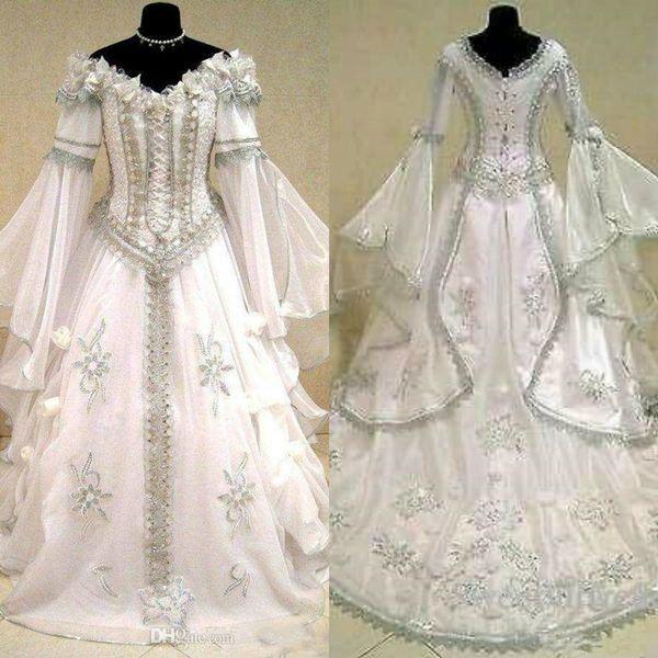 Robes de mariage médiéval Sorcière celtique Tudor Renaissance Costume gothique victorien Holloween Lacets Corset robe de mariée Plus Size