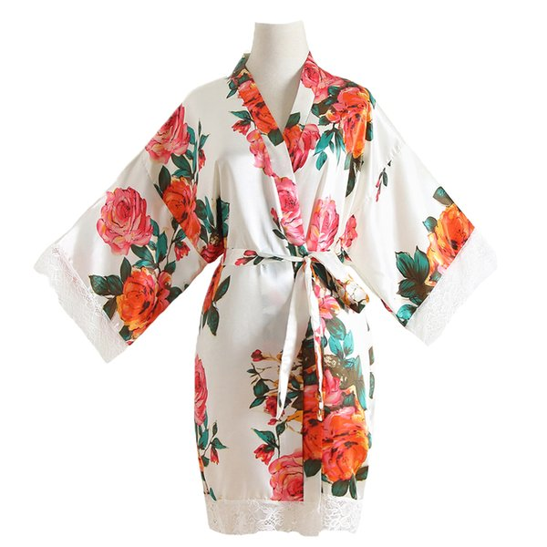 One Size Print Women Home Dress White Bride Bridesmaid Wedding Dressing Gown Sexy Mini Robe Kimono Bathrobe Satin Nightwear