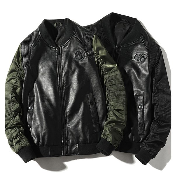 2019 Autumn New Men's Leather Jacket Top Casual Fashion Stand Collar Baseball Uniform Pilot Jacket Men's Clothing