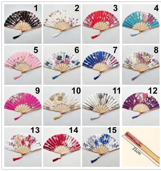 50pcs/lot assorted colors & flower design dragon shape bamboo frame Japanese satin silk fabric hand fan