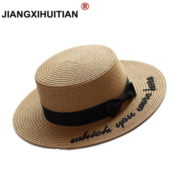 2017 Summer new Embroidery Letter Boater Hat Ribbon Round Bow Flat Top Wide Brim Straw Hat Women Fedora Panama free shipping