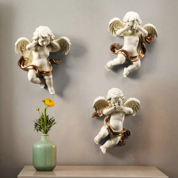 3Pcs/set Europe Resin Cute Cupid Love Angel Wall Sticker Home Decoration Living Room 3D Wall Background Mural Craft R143