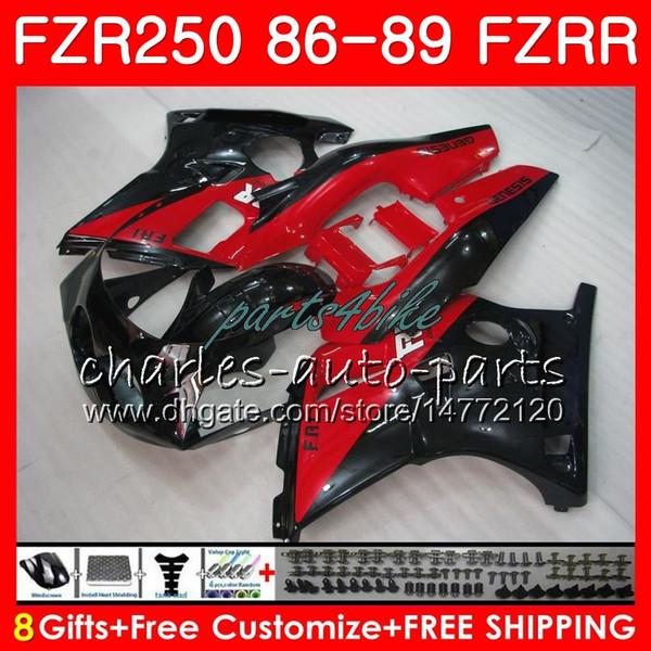 Corps pour YAMAHA FZR250R FZRR FZR 250R FZR250 86 87 88 89 123HM.6 FZR250RR FZR 250 FZR-250 1986 1987 1988 1989 Capot Rouge noir stock kit