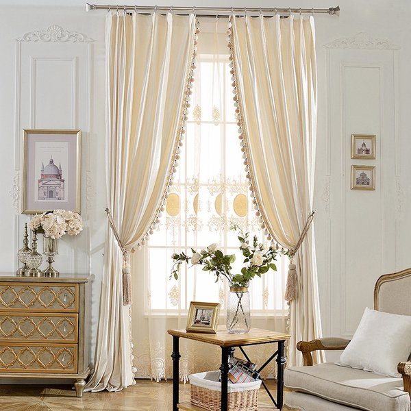 top popular European Cream color velvet curtains for Living Room Solid color velvet simple modern curtains for Bedroom Kitchen 2021