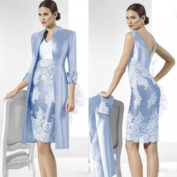 Light Sky Blue 2019 Mother of the Bride Dresses With Jacket Sheath Lace Wedding Guest Dress Custom Two Pieces Women Formal Occasion Gowns