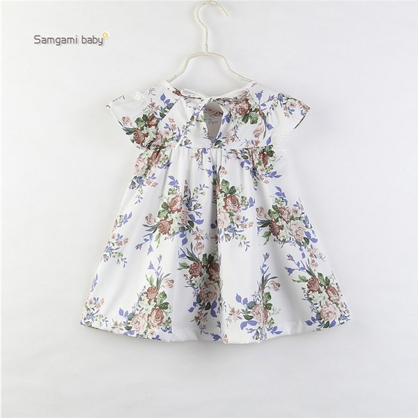 Baby Girls Princess Dress Girl Little Floral Round Neck Flying Sleeve Lace A-Line Dress Infant Outfits Toddler Summer Baby Girl Dress 1-6T