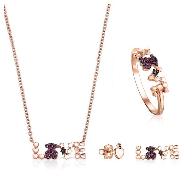 100% 925 plata de ley chapado en oro de 18k Rose AMOR con varios elementos de la piedra preciosa del collar del anillo del amor asimétrica pendientes Piercing oso