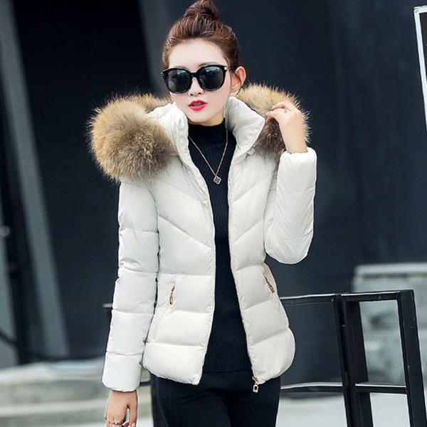 Las mujeres capa caliente 2017 Nueva Otoño Invierno Parkas Moda Mujer por la chaqueta ocasional de las mujeres cuello de la chaqueta con capucha de piel Inverno Parka Waddd