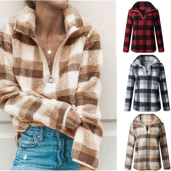 Women Plaid Hoodies Sherpa Fleece Sweatshirt Winter Fall Zipper Pullover Sweater Fashion Turtleneck Hoodie Long Sleeve Plush Coat Tops S-XL