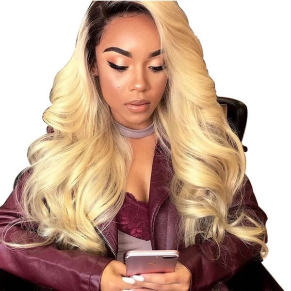 Ombre Human Hair Wig Blonde 613 Color Loose Wave Glueless Preplucked Transparent Full Lace Wigs Ombre Colored For Women