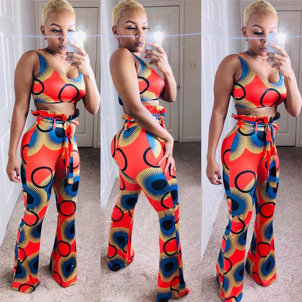 Women Sexy Geometric Print 2 Piece Set Sleeveless Crop Top Flare Pants Bodycon Tracksuit Outfits Sweatsuit Clothes