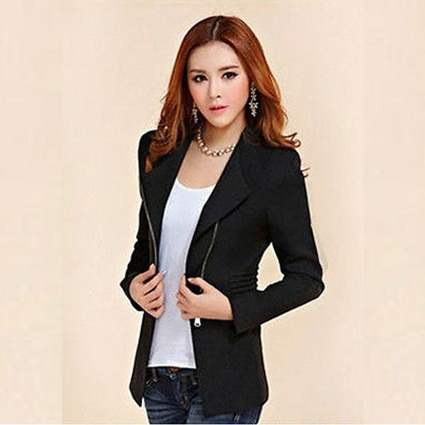 Femmes Casual veste à manches longues Cardigan Fermeture à glissière Blazer Veste motard Outwear Tops Blazers nouvelles