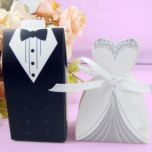 Gift Boxes 50pcs Bride and 50pcs Groom Tuxedo and Wedding Dress Pink Wedding Decoration Candy Box Bag Decoration for Marriage