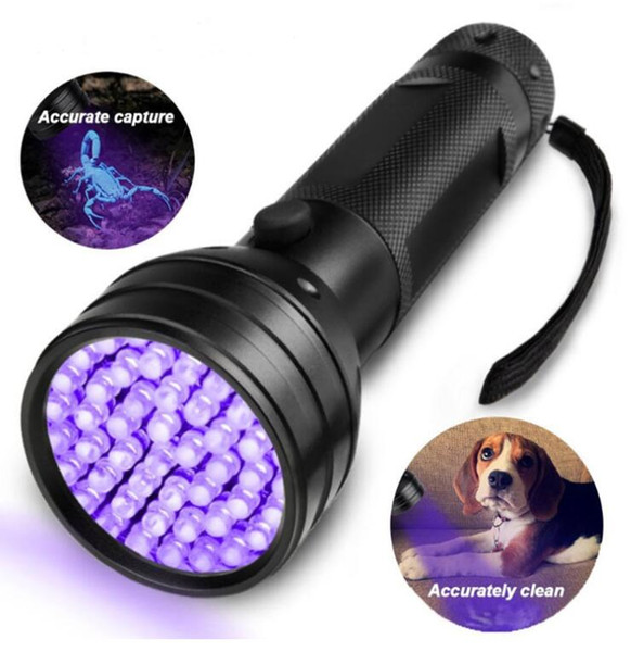 top popular High Quailty 51 UV Ultraviolet LED Flashlight Violet Blacklight Black Light Torch 395 nM Aluminum Shell UV Torch Mini Light flashlights 2021