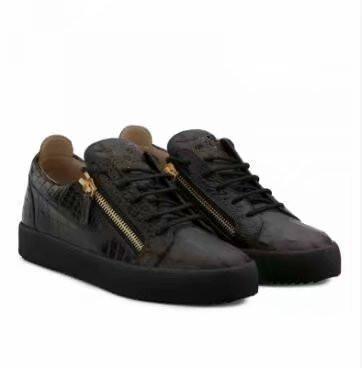 Высокое качество бесплатная доставка черный крокодиловой кожи для мужской и женской обуви, модные кроссовки высокого уровня chaoliu 189606