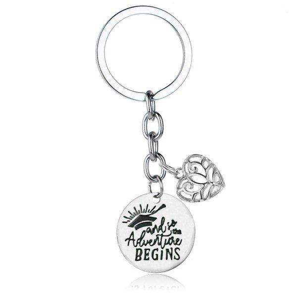 12PC Wholesale Hollow Heart Key Ring Bachelor Cap Adventure Begins Pendant Keychain Friends Graduate Student Keyring Inspiring