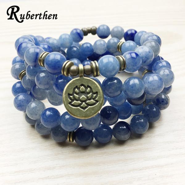 Ruberthen Nouvelle Arrivée Conception Femmes Mala Perles Bracelet Vintage Bleu Aventurine Quartz Yogi Bracelet Collier Lotus Bracelet J190625