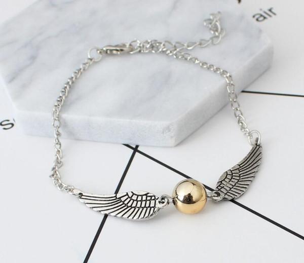 Fashion Harry Bracelets Angle wing Charm Bracelets for women and men cute Potter ball wings chain bracelets Cheap price