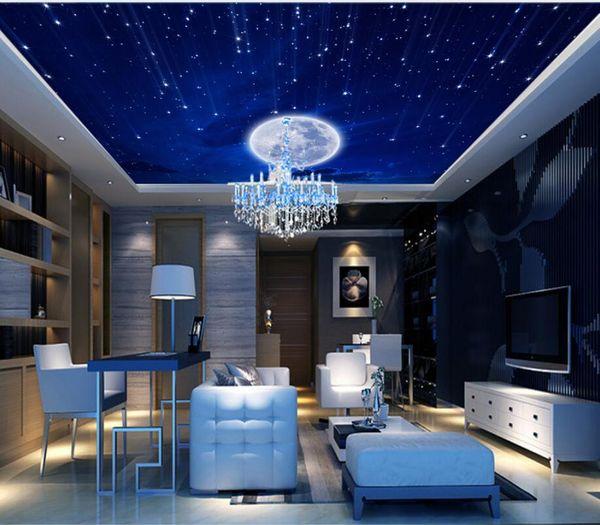 Custom Murals Starry Moon White Clouds Living Room Zenith Ceiling Wallpaper Bedroom Tv Background Galaxy Theme Wallpaper Animated Desktop