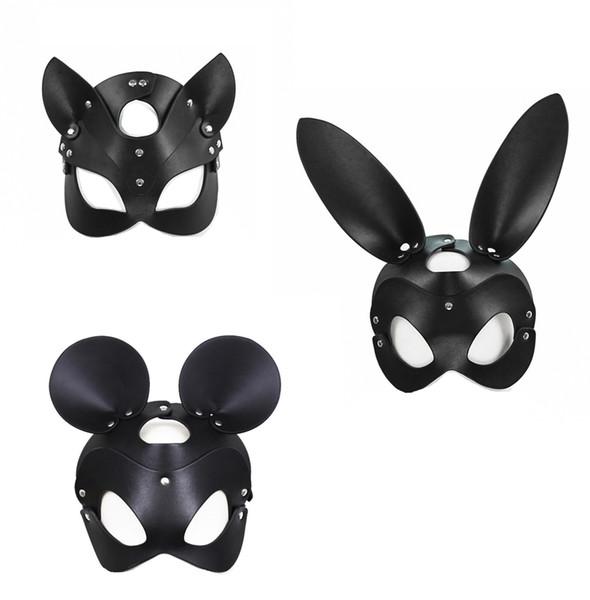 Gato de coelho projeto do mouse de couro headgear máscara de máscaras do dia das bruxas engraçado capa bondage escravidão ms material adulto brinquedos do sexo