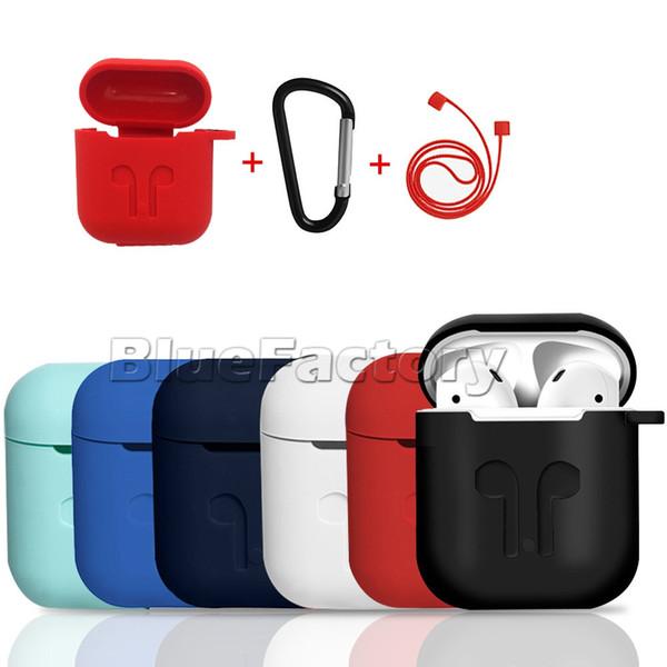 Funda de silicona suave para Apple AirPods Cubierta protectora a prueba de golpes hebilla para iPhone 7 Bluetooth Auricular