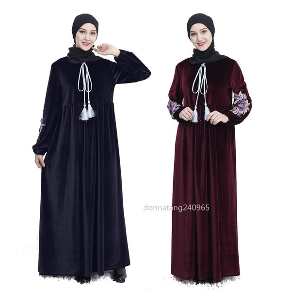 406 Women Velvet Abaya Dubai Turkey Kaftan Turkish Bangladesh Ukraine Velour Robe Flowers Embroidery Islamic Clothing Muslim Dress