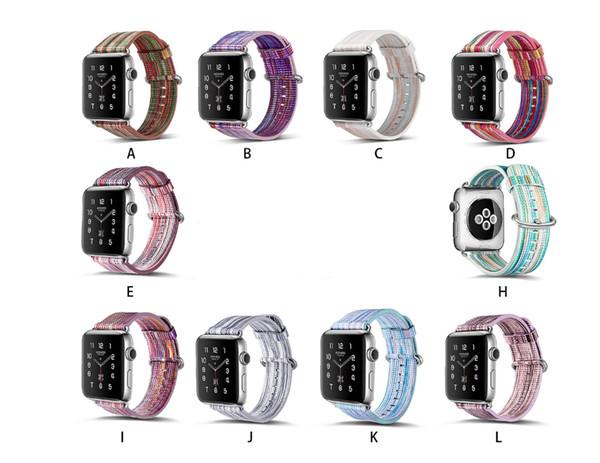 Ethno-Style-Uhrenarmbänder aus echtem Leder, lackiertes Ersatz-Uhrenarmband mit buntem Muster für Apple Watch 38 / 42mm Serie 4 3 2 1