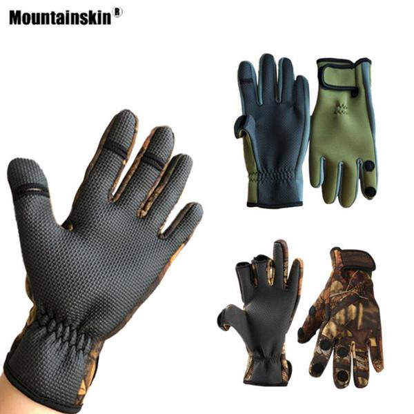 Mountainskin Kış Erkekler Balıkçılık Eldiven Açık Üç veya İki Parmak Kesme Kaymaz Bisiklet Kamp Yürüyüş Bisiklet Bisiklet Eldiven VK151
