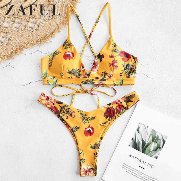 Zaful Fleur Bikini Set Rétro Femmes Push Up Soutien-Gorge Bandeau Bikinis Rembourré D'été Femme Biqinis Dentelle Maillot De Bain Brésilien Beachwear Y19072301