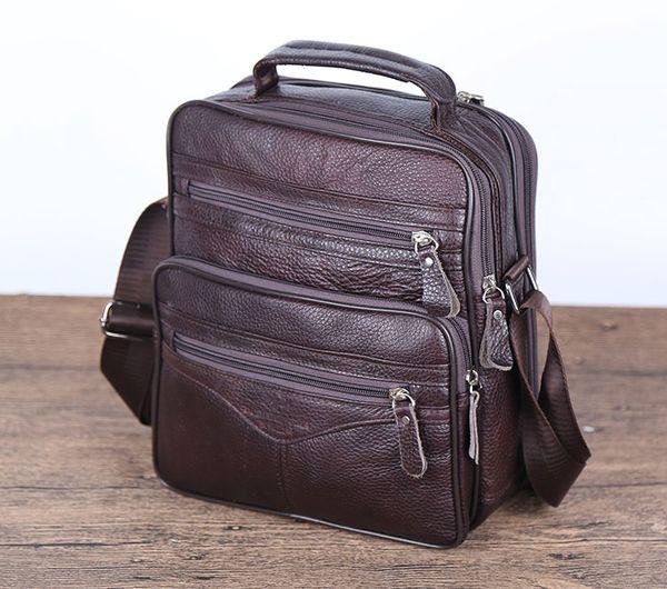 Vintage Brand New Design Mens genuine leather shoulder messenger bag Retro man business cross body bags male boys organizer ipad hand bags
