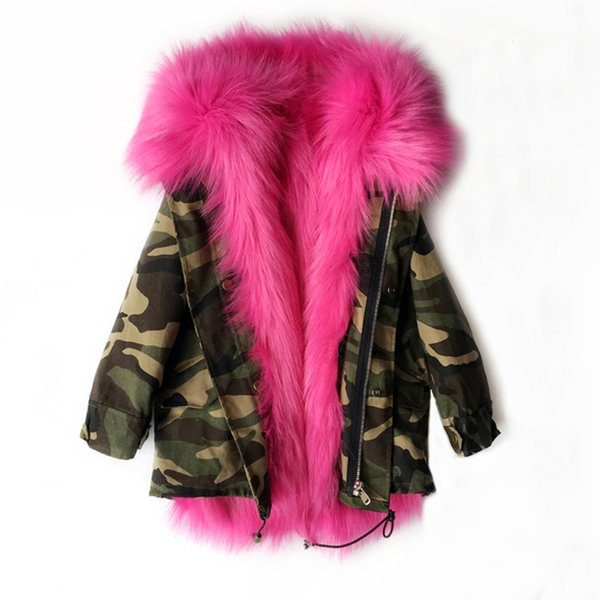 kids designer clothes girls Winter Coat Faux Fox Fur Liner Detachable Jackets Children Outerwear Baby Thicken Warm Coat Parkas For kids C654