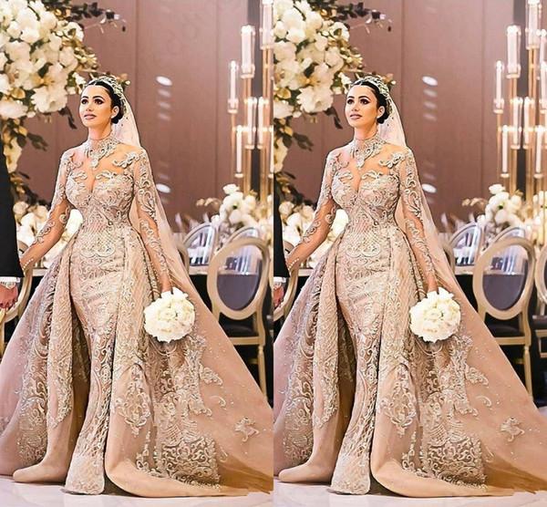 top popular Arabic Dubai Long Sleeve Wedding Dress Gorgeous High Neck 2019 Mermaid Lace Appliques Detachable Train Bridal Gown vestido de noiva 2020