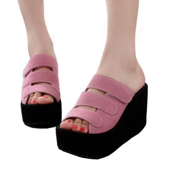 Slippers Female Summer 2019 New Magic Stickers Thick Bottom Cake Wedges With Sandals Matte High Heel Women's Sandals
