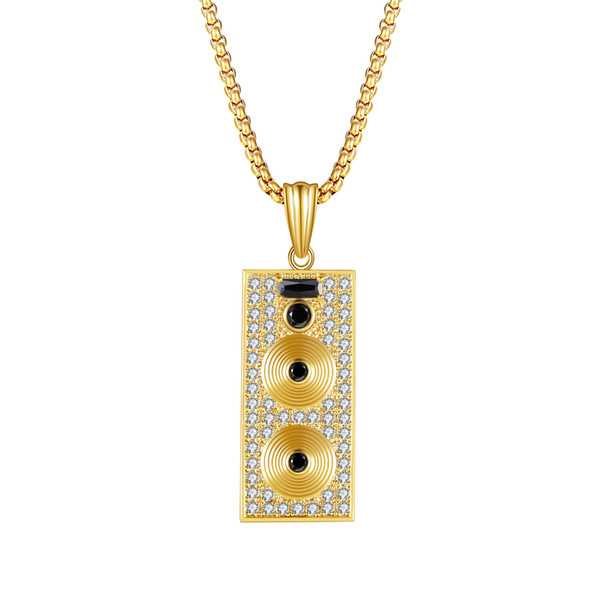 2019 Personality Trend Hip Hop Wind Street Dance Gold Color Copper Zircon Pendant Necklace Mobile Phone Camera Fashion Jewelry