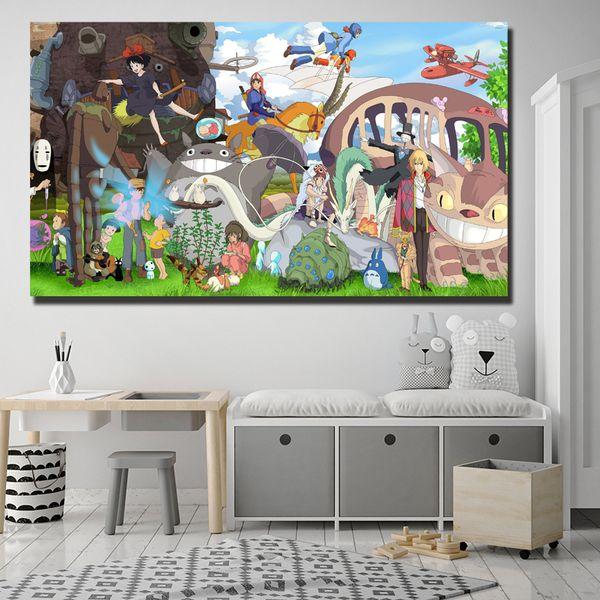 Spirited Away No Face Chihiro Miyazaki Peintures Sur Toile Art Moderne Mur Décoratif Photos Maison Enfants Chambre Décoration