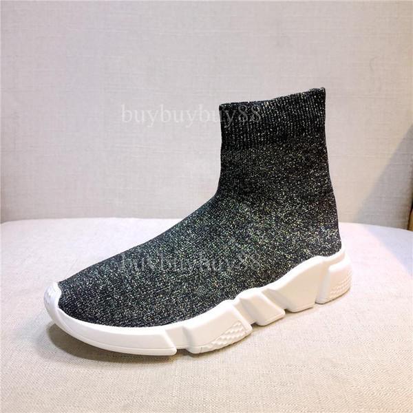 Zapatillas de diseñador de moda Gris brillante Stretch-Knit Speed Trainer Casual Shoe Hombre Mujer Sneaker barato High Top Sneaker cómodo 5SAS