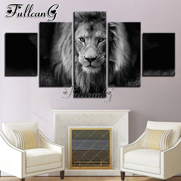 wholesale 5 piece diy diamond painting animal lion black & white full square/round drill mosaic embroidery multi-picture FC715