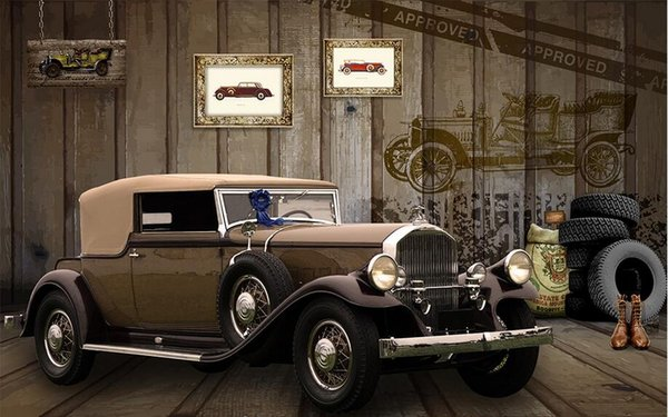 3d Wallpaper Custom Photo Mural American Vintage Classic Car Tv Background Home Decor 3d Wall Murals Wallpaper For Walls 3 D Living Room Wallpapers In