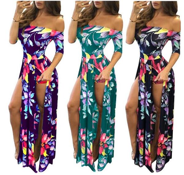 printemps style chaud / été 2019 européenne et sexy de la mode du commerce extérieur américain grande impression numérique des femmes de taille d'une seule pièce robe fendue