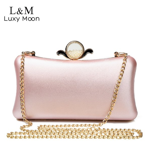 Luxury Gold Silver Evening Purse Women Pink Pu Leather Pearl Hand Bag Chain Shoulder Day Clutch Bags Handbag Bolso Black Xa841h Y190626